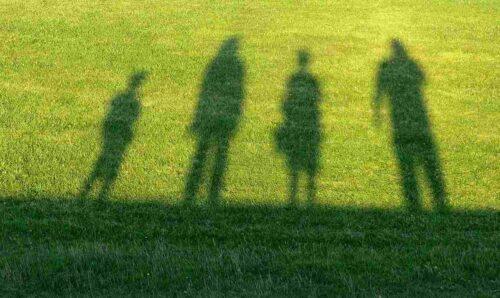 芝生に映った家族4人の影