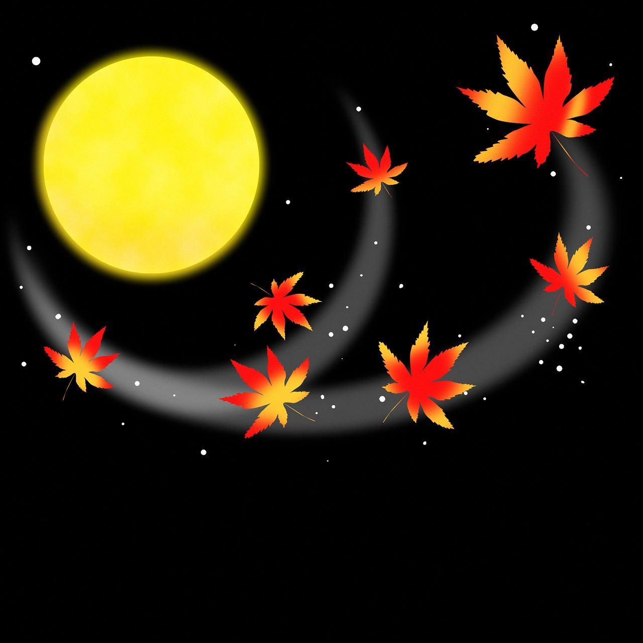 月に紅葉のイラスト