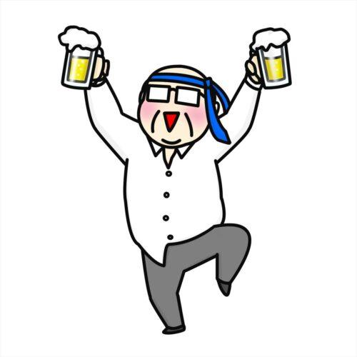 ビールを持って酔っ払ってるお父さんのイラスト