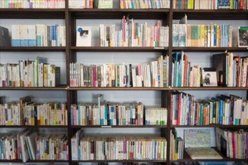 書棚にずらりと並んだ本