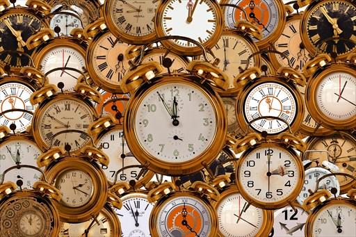 いろいろな時間を示す時計