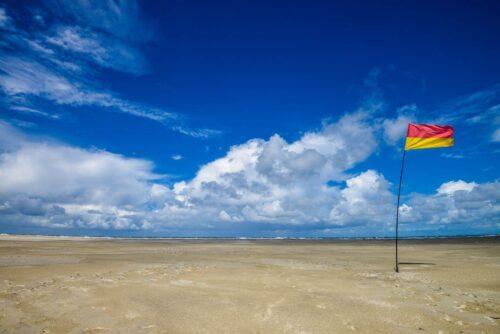 砂浜に立つフラッグ